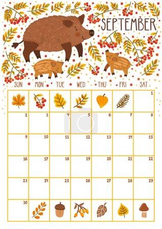 矢量月历与可爱的野猪和两个野猪宝宝。2018年9月。规划设计。带微笑卡通人物的日历页._高清图片_邑石网