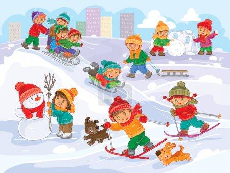 冬天在户外玩耍的小孩的矢量图