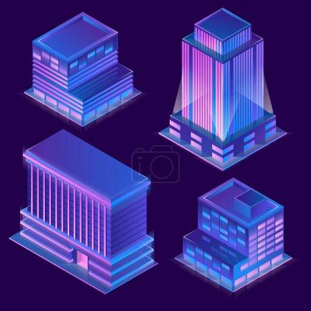矢量3d 等距建筑与霓虹灯照明