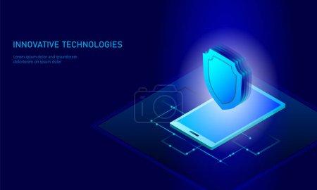 等距互联网安全盾的经营理念。蓝色发光等距个人信息数据连接 pc 智能手机未来技术。3d 图表矢量图_高清图片_邑石网