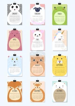 日历2018。可爱的月历与动物。A4_高清图片_邑石网