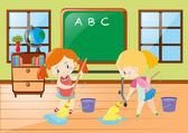 两个女孩在一起打扫教室